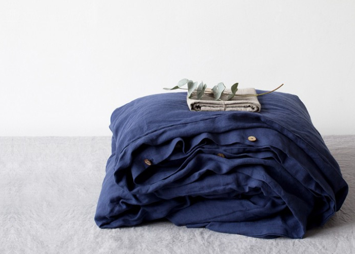 이불커버 Stone Washed Linen, Navy