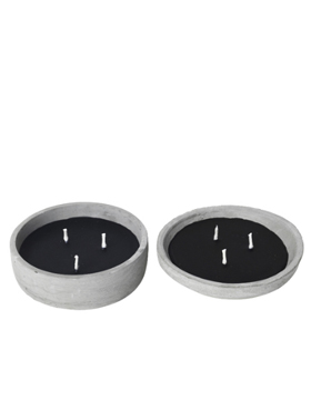 CANDLES, Wax in Cement Bowl, Black, 2개 세트